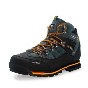 Image 5 - Zapatos de Montañismo hombre impermeable y antideslizante deportes resistente al desgaste cuero masculino Permeable ocio turístico y fácil montaña