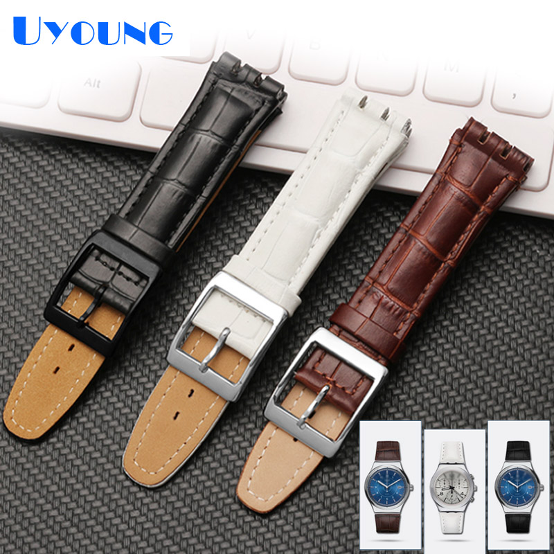 High Quality Luxury Black Brown 17mm 19mm Waterproof Genuine Leather Watch Strap Band For Swatch Alligator Pattern Leather Belt|genuine leather watch strap|watch strap|watch strap band - title=