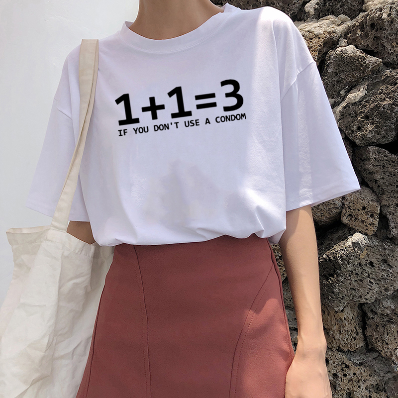 Harajuku Math Problem Summer <font><b>Funny</b></font> <font><b>T</b></font> <font><b>Shirts</b></font> <font><b>Women</b></font> Short Sleeve O-neck Cotton Tshirt <font><b>Women</b></font> Casual Loose Tee <font><b>Shirt</b></font> Femme image