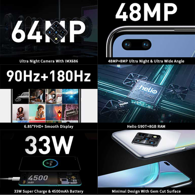 New Global Version Infinix Zero 8 8GB 128GB Smart Phone 6.85'' FHD 90Hz Full Screen 64MP Quad Camera 4500mAh Battery 33W Charger 2