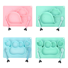 3Pcs Baby Silicone Dishes BPA Free Cartoon Toddler Tableware Dinner Set Children Feeding Food Bowl Spoon Fork Kids Suction Plate baby children kids dish tableware set stainless steel insulation strong suction bowl spoon fork food baby feeding bowls