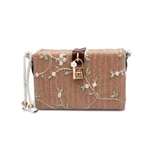 JUILE Womens Bag Straw Flower Casual Grass Weaving Bucket Vintage Handbag For Women Ladies Woven