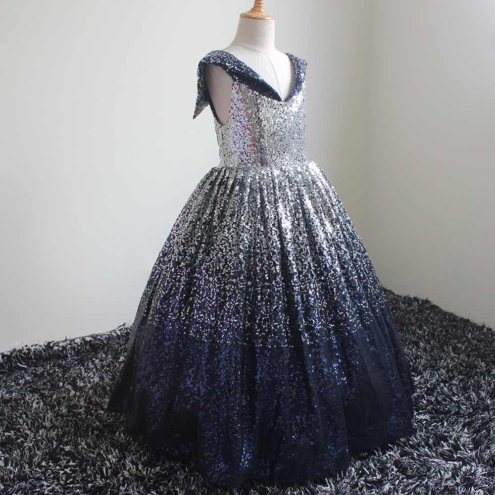 Walk Beside You primera comunion Sequined Flower Girl Dresses Ball Gown Navy Blue Silver Off Shoulder ?????? ?????? ??? ???????