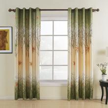 Ava Maple Leaf Grommet Jacquard Print Curtain Window Drapery, Size and Liner Custom (1 Panel) For Rod