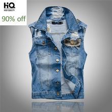 Mode Mes Camo Patchwork Ärmellose Denim Jacke Moto Biker Loch Zerrissene Weste Slim Fit Weste High Street Cowboy Outwear Top(China)