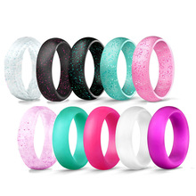 4pcs/lot Crystal Powder Silicone Female Ring For Women Girls Office Men Finger 5.7mm 4-10 Rubber Rings Eco-Friendly Silicon