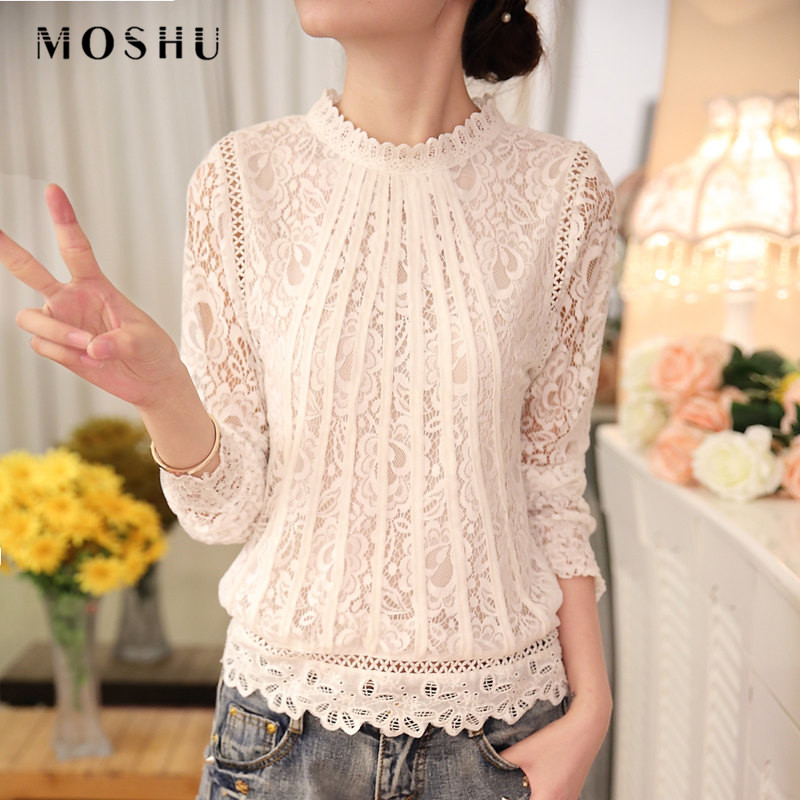 2019 Autumn Winter Ladies White   Blouse     Shirt   Women's Long Sleeve Chiffon Lace Crochet Tops   Blouses   Women Clothing Blusas Femme