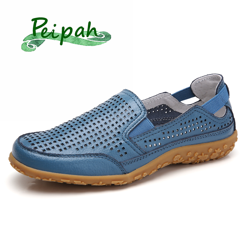 PEIPAH Summer 2020 Women's Genuine Leather Shoes Woman Loafers Platform Flats Casual Slip-On Shoes Shallow Sapato Feminino