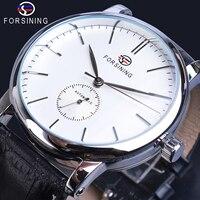 Forsining White Male Mechanical Watches Minimalism Simple Slim Analog Genuine Leather Belts Business Wristwatch Erkek Kol Saati