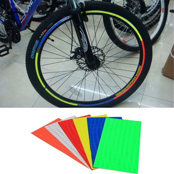 Reflective Bike Bicycle Stickers Motorcycle Wheel Tyre Safety Warning Conspicuity Tape Film Sticker Strip Bicycle Accessories new 8mx1cm universal motorcycle reflective stickers strips diy bike car safety warning reflective tape wheel rim decal sticker