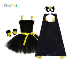1 14Y Black Girl Batman Tutu Dress Knee Length Bat Girl Birthday Halloween Cosplay Costume For Photos Baby Kids Clothes Set