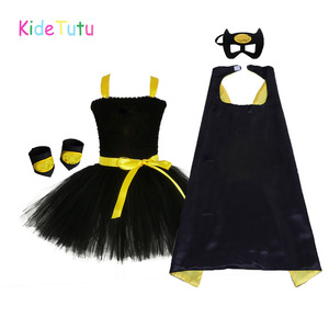Image 1 - 1 14Y Black Girl Batman Tutu Dress Knee Length Bat Girl Birthday Halloween Cosplay Costume For Photos Baby Kids Clothes Set