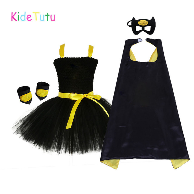 1 14Y Black Girl Batman Tutu Dress Knee Length Bat Girl Birthday Halloween Cosplay Costume For Photos Baby Kids Clothes Set