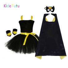 1 14Y siyah kız Batman Tutu elbise diz boyu yarasa kız doğum günü cadılar bayramı Cosplay kostüm fotoğrafları bebek çocuk giyim seti