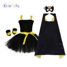1 14Y שחור ילדה באטמן טוטו שמלת הברך אורך בת ילדה יום הולדת ליל כל הקדושים Cosplay תלבושות עבור תמונות תינוק ילדים בגדי סט