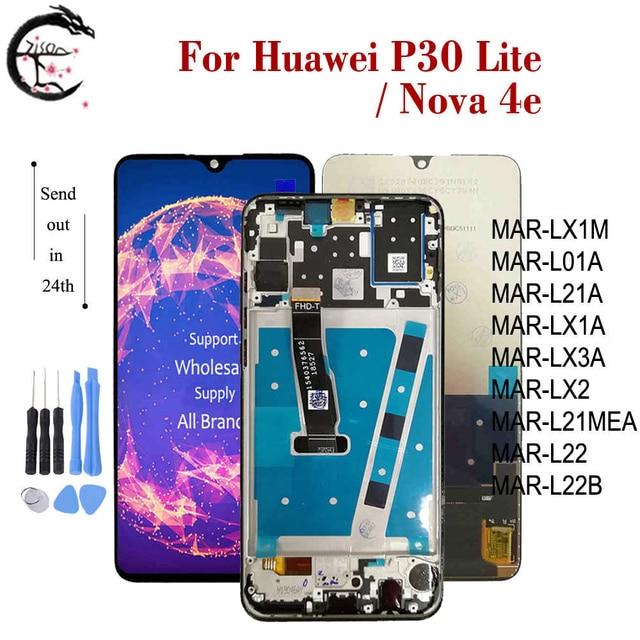 화웨이 P30 라이트 MAR L01A LX1A LX2 L21A LX3A LCD 전체 디스플레이 화면 터치 디지타이저 어셈블리 노바 4e 디스플레이에 대 한 프레임 LCD
