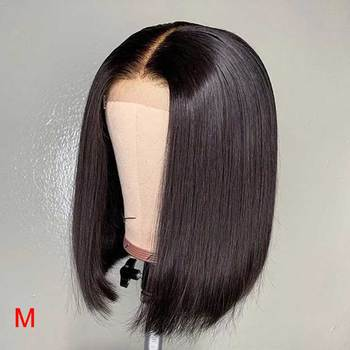 Short Indian Straight HD Transparent Invisible Lace Front Human Hair Bob Wigs Pre Plucked With Baby Hair For Black women Remy