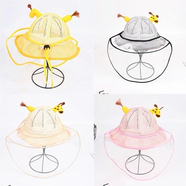 Children's Protective Hat Exquisite Handmade Straw Sun Hat Anti-fog Anti-saliva Korean Fisherman Hat (removable Face Mask)