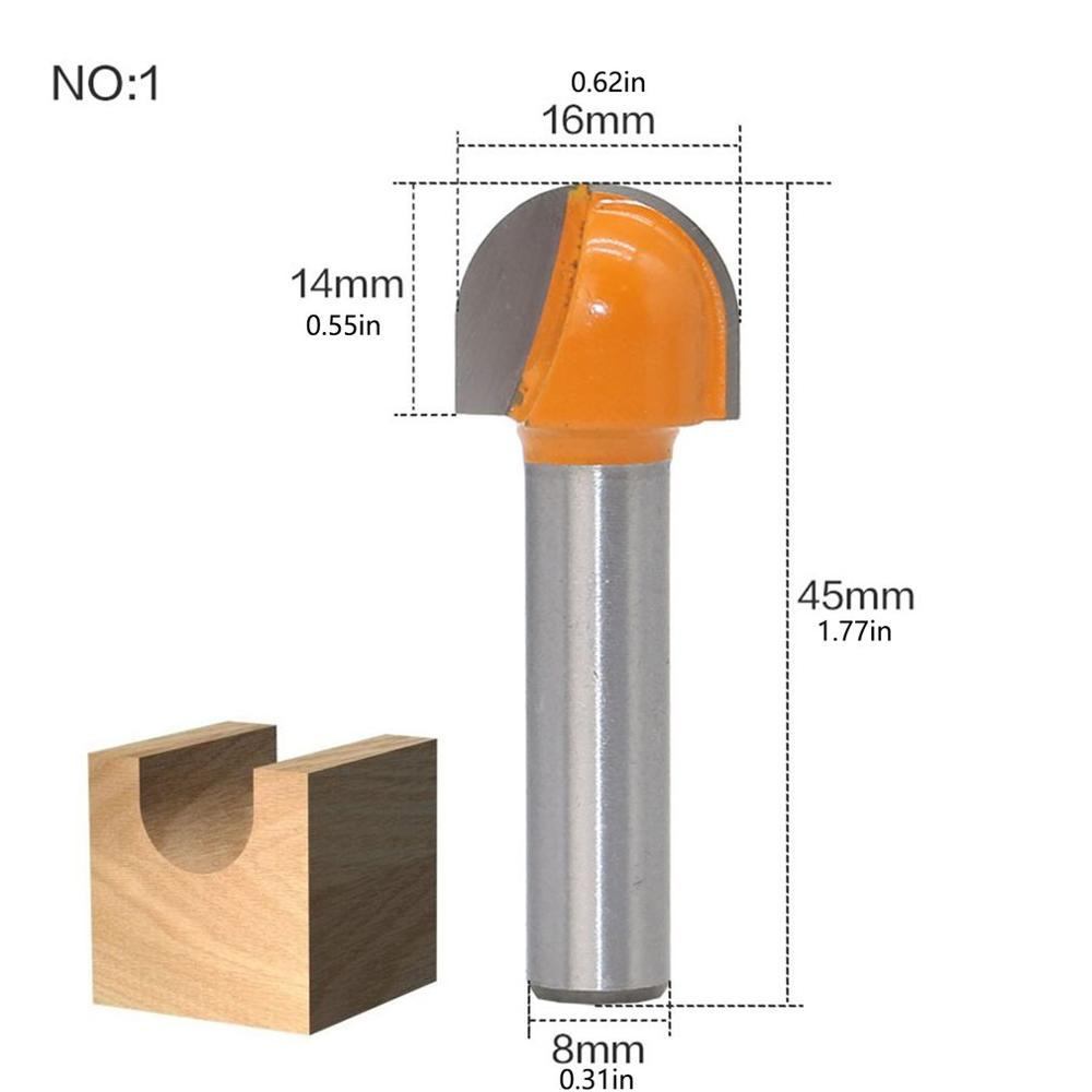New 8Mm Shank Angle Posture Router Bit 16/19/22 / 25Mm Round Router Bit Wood Trimming Cutter Radius Wood Milling Cutter