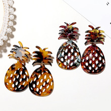 Tortoiseshell pineapple Acrylic earrings for women Big Acetate Dangle Drop Earrings Girl Party Za Jewelry Fruit Brincos Gifts
