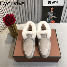 Snow-Boots Platform Flat-Shoes Runway Winter Women Skidproof Slip on Wool Warm-Down Femme