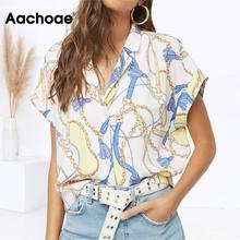 Aachoae Women Summer Blouse 2020 Chain Print Batwing Short Sleeve Blouse Turn Down Collar L