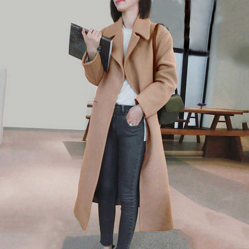 Litthing Women Coat 2019 Winter New Casual Korean Version Slim Long Coat Full Sleeve Suit Collar Womens Plus Size Fashions Coats