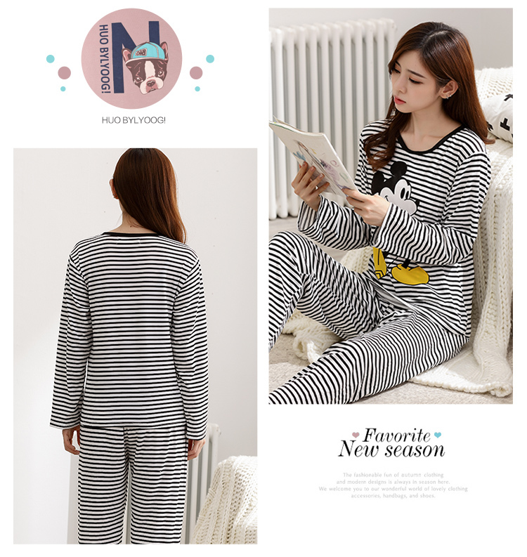 Wholesale Pajamas Sets Spring Autumn 22 Style Thin Carton Generation Women Long Sleepwear Suit Home Women Gift Female Sleepwear 32