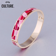 Роскошные брендовые геометрические художественные браслеты для женщин, золотые, красные, синие красивые ювелирные изделия из нержавеющей стали