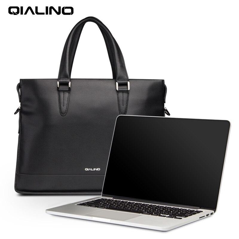 QIALINO сумка для ноутбука из натуральной кожи для Macbook 13 дюймов, переносная деловая сумка через плечо для ноутбука 12/13/14 дюймов, мягкая ручка