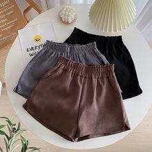 Женские широкие шорты с высокой талией и эластичным поясом однотонные