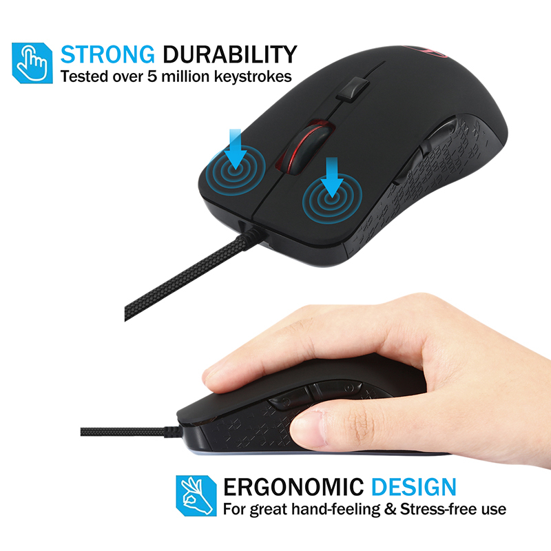 SeenDa Wired Gaming Mouse Ergonomic Programmable 6 Buttons Mice 2400 DPI with Warmer Heated Mouse for Windows PC Games