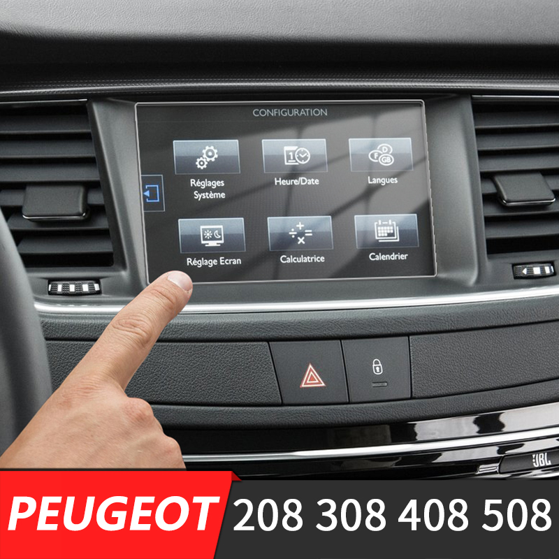 215*120mm Car Center Console <font><b>LCD</b></font> Screen Sticker GPS Navigation Screen Tempered Steel Protective Film FOR <font><b>Peugeot</b></font> <font><b>308</b></font> 408 508 208 image