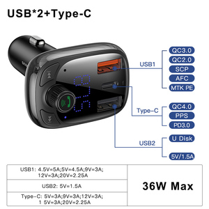 Image 2 - Baseus FM Transmitter Car Charger For Phone QC 4.0 3.0 PD3.0 Bluetooth 5.0 Car Kit Audio MP3 Player 36W Fast Charging Car harger