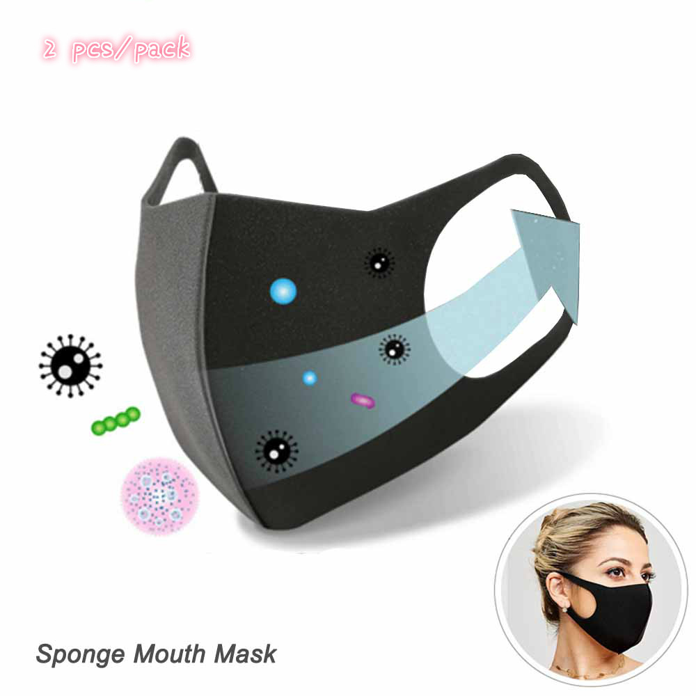 2Pcs Black Sponge Mouth Mask Unisex Face Mask Reusable Anti Pollution Shield Wind Proof Mouth Cover For Coronavirus 2019-nCoV