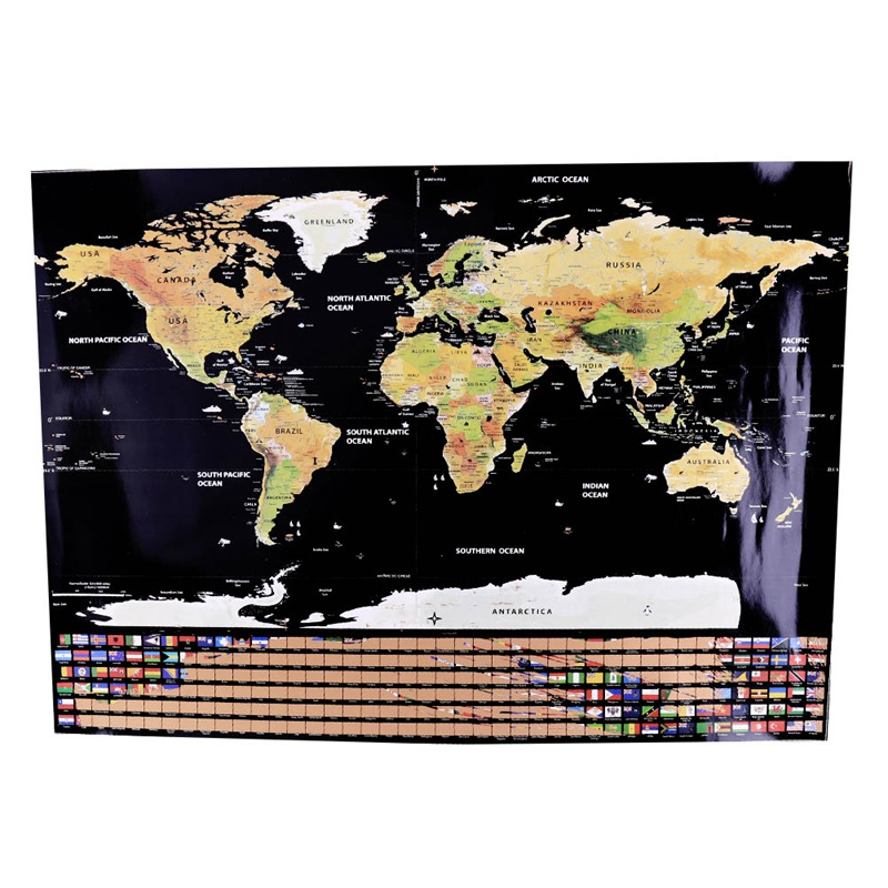 Erase Black World Map Scratch Off World Map Personalized Travel Scratch For Map Room Home Decoration Wall Stickers