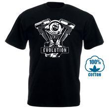 Футболка мужская Байкерская с мотивом эволюции двигателя хлопковая