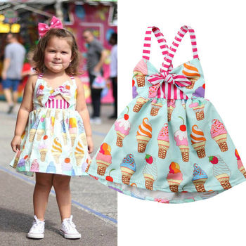 Pudcoco Toddler Baby Girl Clothes Ice Cream Print Strap Backless Cotton Tutu Dress Sundress Costume