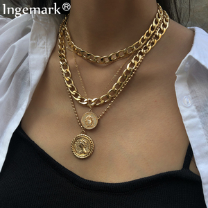 Ingemark Punk Miami Cuban Choker Necklace Colar Hip Hop Big Thick Chunky Chain Fashion Queen Coin Pendant Necklace Women Jewelry(China)