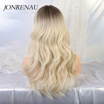 JONRENAU 24 inches 9 Colors Long Brown Root Ombre Blonde Wig Synthetic Natural Wave Wigs with Bangs for Black/White Women 5
