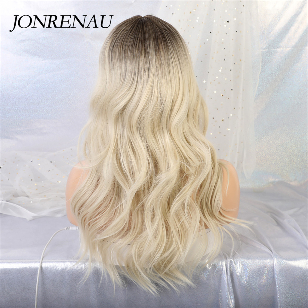 JONRENAU 24 inches 9 Colors Long Brown Root Ombre Blonde Wig Synthetic Natural Wave Wigs with Bangs for Black/White Women