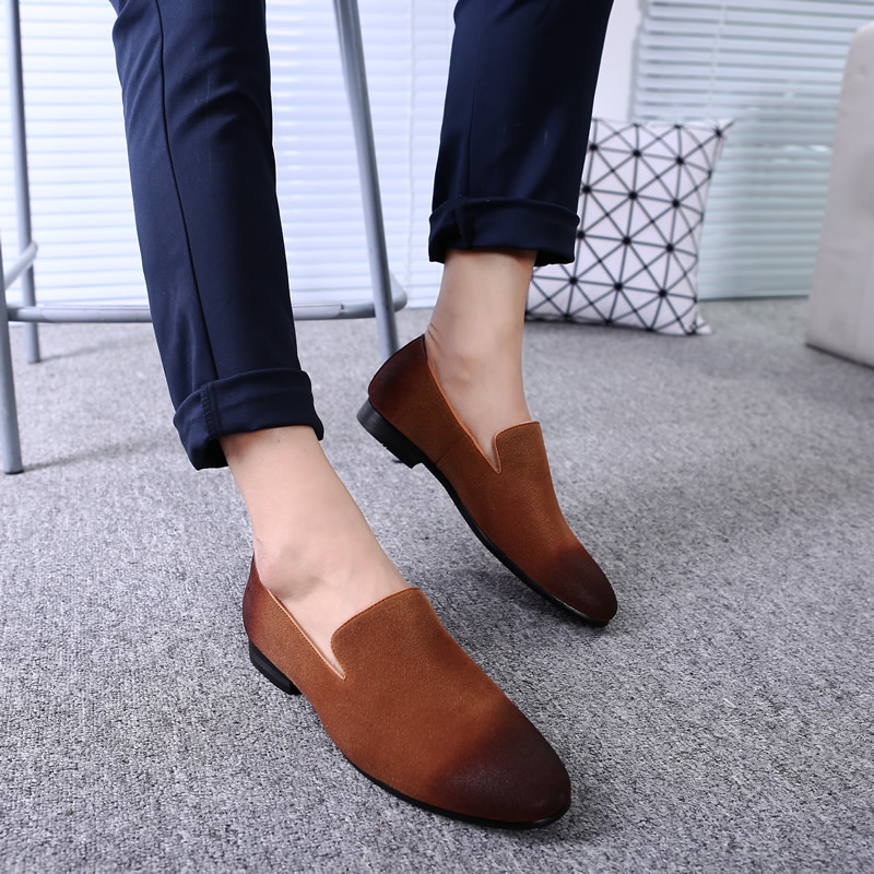 Men Loafer Shoes Casual Oxford Shoes Pointed Toe Flat Breathable Formal Party Dress Shoes
