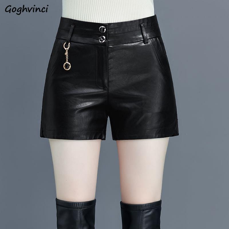 Shorts Women PU Leather Leisure Plus Velvet Warm Winter Plus Size 5XL High Waist Slim Womens Korean Style Daily Streetwear New