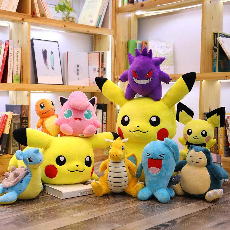 Anime Charmander Pikachued plush toy stuffed doll Squirtle Bulbasaur Jigglypuff Lapras Eevee pokemoned Peluche Gift For kid 2