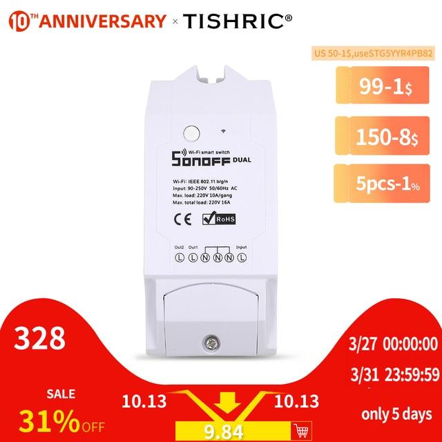 Itead sonoff interruptor inteligente dual 2ch 15a 3500w, temporizador iluminado e remoto sem fio, funciona com amazon alexa google home