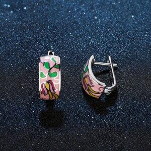Image 3 - Wiosenny oddech ekstrawaganckie różowe kolczyki sztyfty z kwiatem dla kobiet autentyczne 925 srebro charms moda emalia Party biżuteria