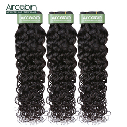Aircabin Water Wave 1/3/4 Bundles Brazilian 100% Remy Human Hair Extensions Double Weft Weave Natual Color 8-26 Inch Bundles