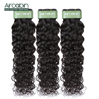 Aircabin Water Wave 1/3/4 Bundles Brazilian 100% Remy Human Hair Extensions Double Weft Weave Natual Color 8-26 Inch Bundles 10a natual color hair bundles 100