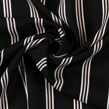 Tissu en mousseline de soie à rayures en Polyester 75D, noir, rose et noir, bleu doux, pour chemises et robes, au mètre