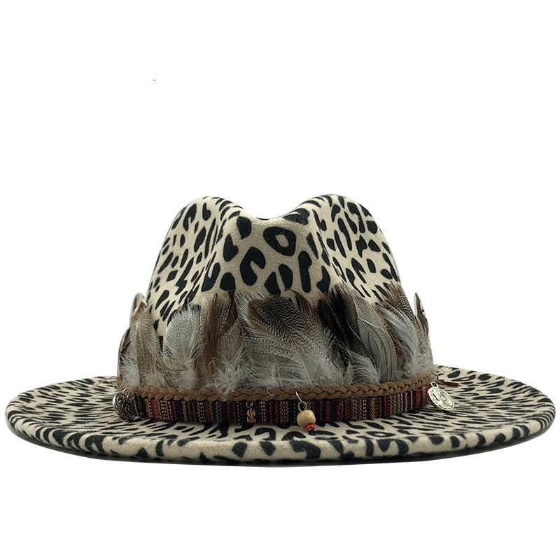2019 Tren Baru Unisex Rata Wol Merasa Jazz Fedora Topi Pria Wanita Leopard Grain Bulu Band Dekorasi Trilby Panama formal Topi